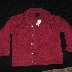 Burgundy red distressed denim jacket